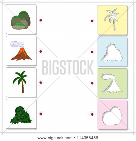 Set Of Rocks Covered With Moss, Volcanic Eruption, Palm Tree And Bush. Educational Game For Kids