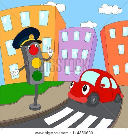 Cartoon Red Car And Traffic Lights On A Pedestrian Crossing