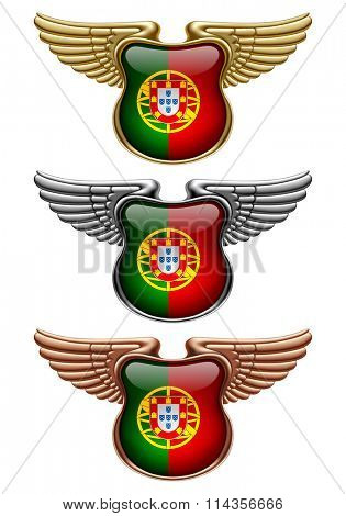 Gold, silver and bronze award signs with wings and Portugal state flag. Vector illustration
