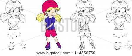 Girl Roller-skating In A Helmet. Vector Illustration. Coloring And Dot To Dot Game For Kids