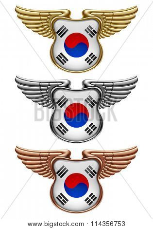 Gold, silver and bronze award signs with wings and South Korea state flag. Vector illustration