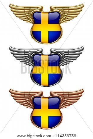 Gold, silver and bronze award signs with wings and Sweden state flag. Vector illustration