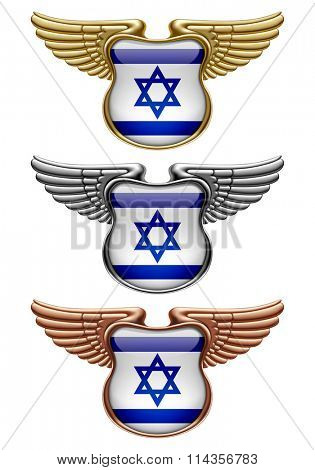 Gold, silver and bronze award signs with wings and Israel state flag. Vector illustration