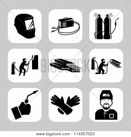 Vector Welding Related Icon Set. Vector Symbols. Vector Illustration