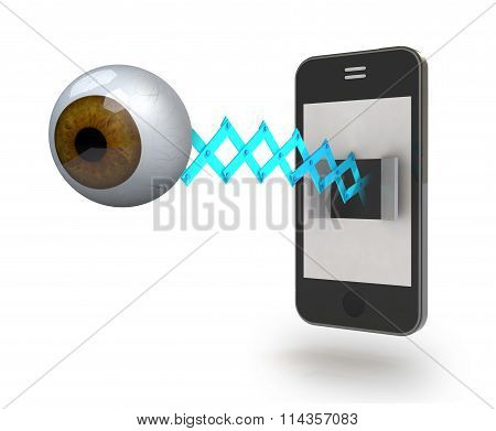 Human Brown Eye Comes Off The Screen Of A Smartphone
