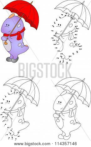 Funny Cartoon Dragon With An Umbrella. Vector Illustration. Coloring And Dot To Dot Game For Kids