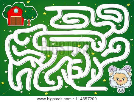 The Lamb Must Find The Way To The Barn. Game For Kids