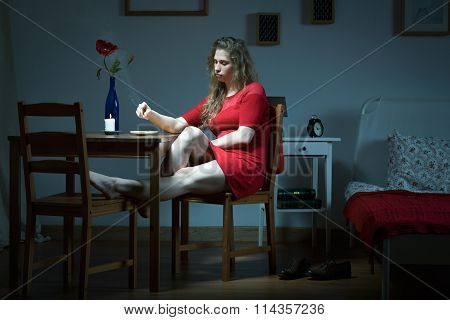 Young Unhappy Woman Living Alone