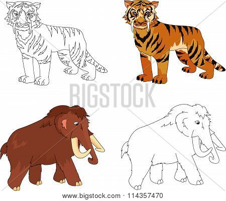 Cartoon Mammoth And Saber-toothed Tiger. Educational Game For Kids. Coloring Book