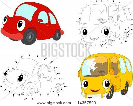 Cartoon Red Car And Yellow Bus. Vector Illustration. Dot To Dot Game For Kids