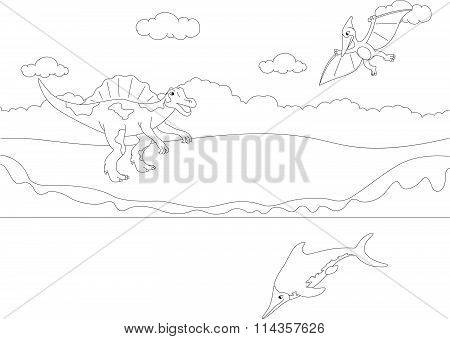 Funny Cute Pterodactyl, Ichthyosaur And Spinosaurus. Educational Game For Kids. Coloring Book
