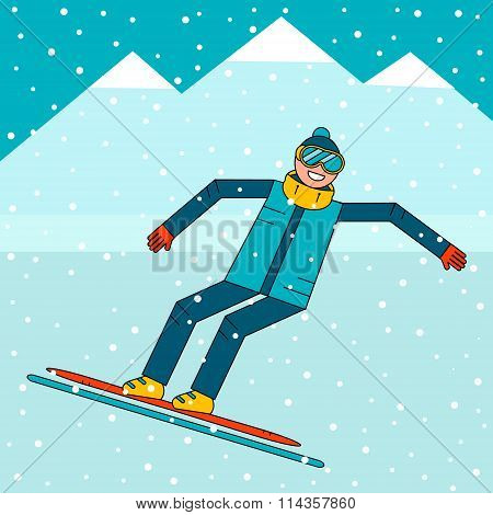 Happy boy snowboarder jumping on a snowboard. Snow mountain landscape.
