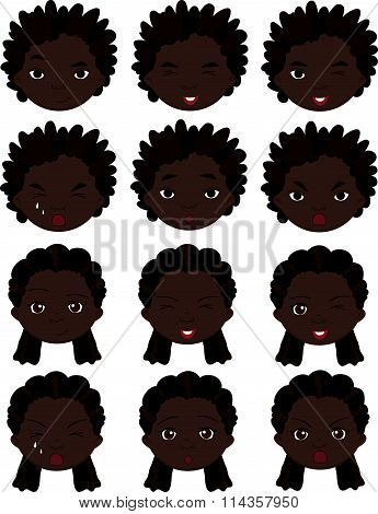 Afro Boy And Girl Emotions: Joy, Surprise, Fear, Sadness, Sorrow, Crying, Laughing, Cunning Wink