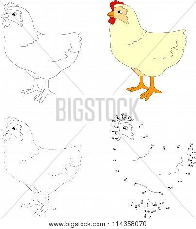 Cartoon Hen. Vector Illustration. Dot To Dot Game For Kids