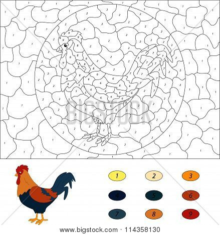 Cartoon Cock. Color By Number Educational Game For Kids. Vector Illustration