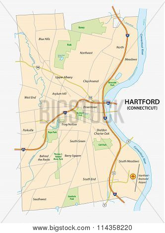 Hartford, Connecticut Road Map