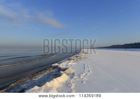 Winter Shoreline Of Baltic Sea With Snow And Ice