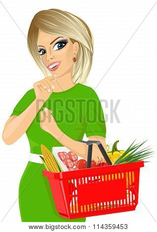 Thoughtful blonde woman holding an empty shopping basket