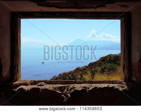 landscape in a window of the old house