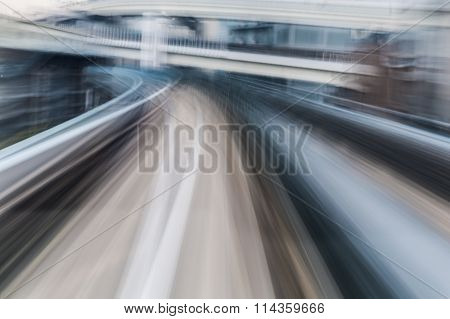 Motion blur of train moving into tunnel