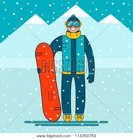 Happy boy snowboarder standing with a snowboard. Snow mountain landscape.