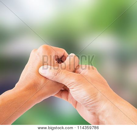 Hand Pain Isolate On Blurred Background