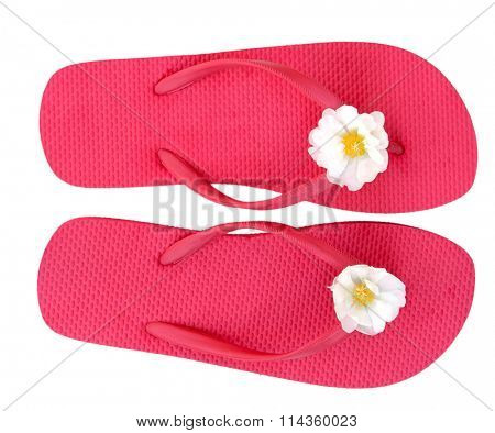 Pink flip flop isolated on white background