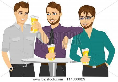 Three caucasian friends drinking a beer and talking about something
