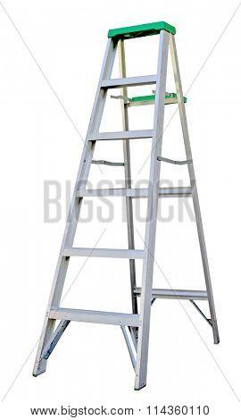 Aluminum step ladder isolated on white background