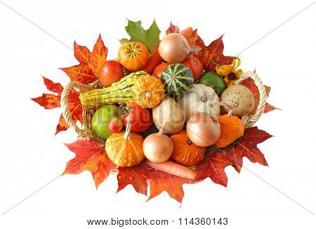 Basket of colorful vegetables in the Autumn