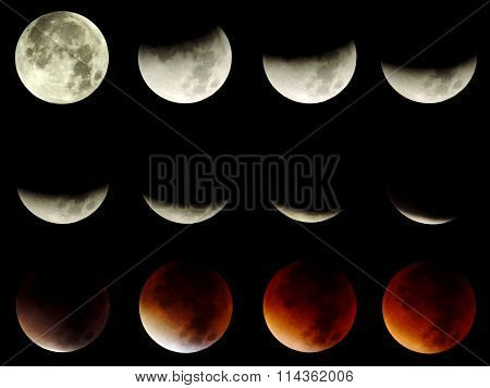 Set of 12 different phases of a total lunar eclipse