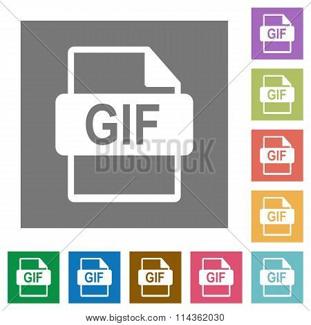 Gif File Format Square Flat Icons
