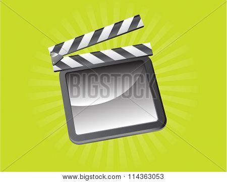 Raster illustration of a film slate on green background