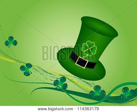 Raster illustration of Patrick hat on floral background