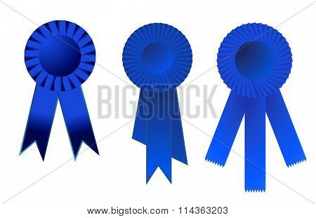 Raster illustration of a set of three blue award ribbons