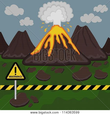 Vector illustration of a volcano erupting. Mountain landscape with yellow sign