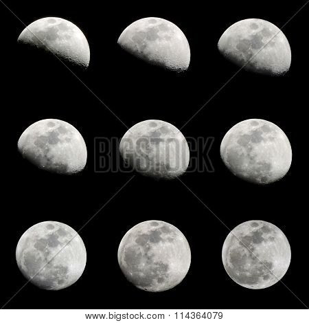 Silhouette of 9 crescent moon on black background.