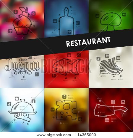 restaurant timeline infographics with blurred background