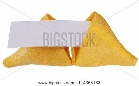 Broken fortune cookie in halves with blank message