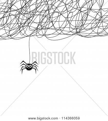Vector Cartoon Of Cute Hanging Spider And Web Network