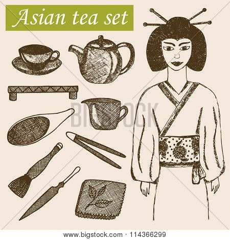 Hand drawn asian tea culture objects.