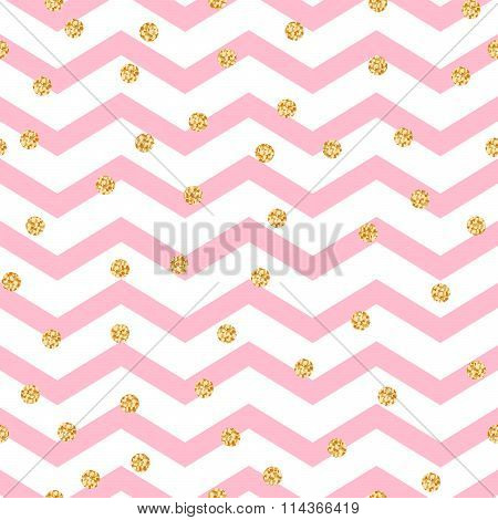 Chevron zigzag pink and white seamless pattern with golden shimmer polka dots.