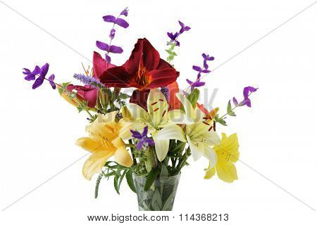 Colorful lily flowers in the vase isolated over white