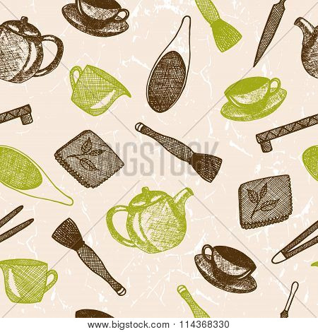 Seamless pattern with hand drawn asian tea culture objects.