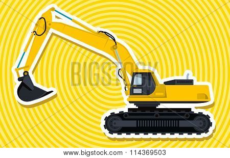 Yellow big digger builds roads.