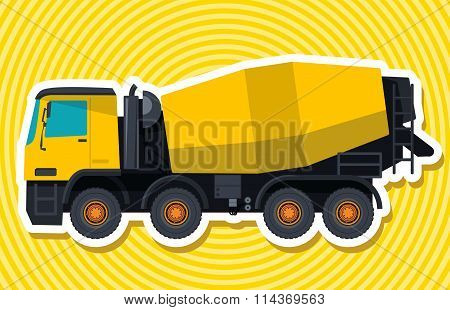 Yellow concrete mixer. Master vector.