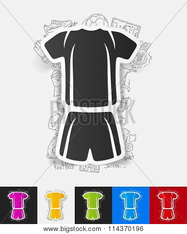 football clothing paper sticker with hand drawn elements