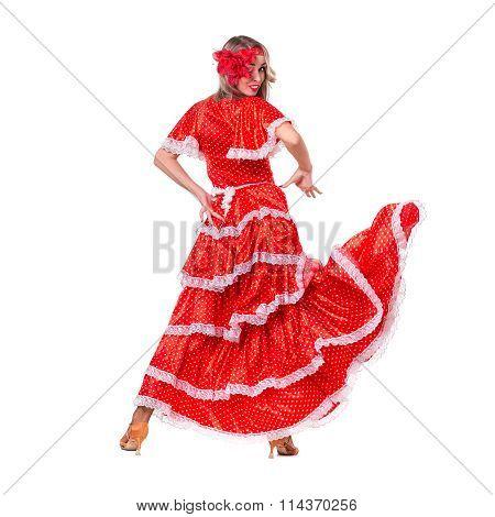 Flamenco dancer  woman posing, isolated on white in full length