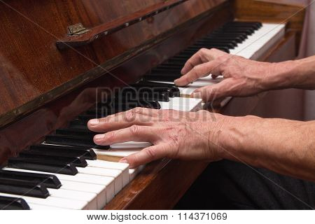 Hands Pianist Playing Classical Piano. Music
