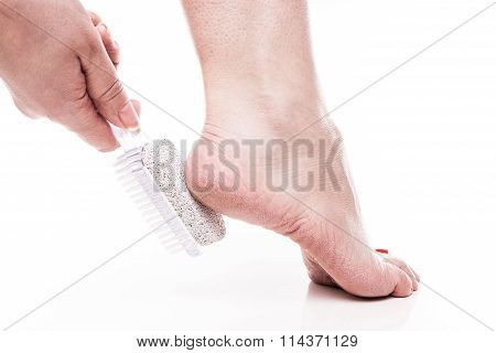 Care For Dry Skin On The Well-groomed Feet And Heels With The Help Of Tools Pedicure Pumice And Brus